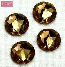 2x Swarovski Crystal 2020 Smoked Topaz Brown 14mm Vintage Fancy Flatback Stone