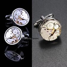 Movimiento De Reloj Para Hombre Steampunk Vintage Plata Gemelos Gemelos regalo de bodas