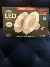 LED Feit 75W Dimmable Recessed Retrofit Lighting 5-6 inch