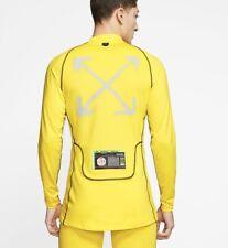 nike x off white Men's NRG Running Shirt Long Sleeve Yellow Size Medium