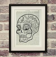 Dictionary Print Sugar Skull Art Wall Décor Antique Book Page Encyclopedia