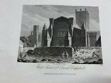 """1814 WEST FRONT OF ST DAVIDS CATHEDRAL ENGRAVED PRINT 5.5"""" x 8.75"""" (LL)"""