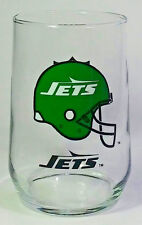 NFL NEW YORK JETS Glass Tumbler Cup 16oz, Mobil Oil Gas, Football Helmet rounded