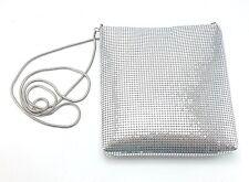 "Valerie Stevens Silver Mesh Metal Chain Strap Evening Bag Purse - 24"" Drop"