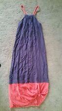 Kookai Purple with coral hem cotton silk maxi dress sz38 preowned free post E2