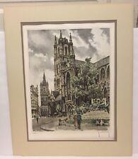 Vintage Roger Hebbelinck Signed Limited Edition Print #185/350 Belgium Cathedral