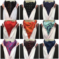 Men Fashion Paisley Polka Dots Floral Cravat Scarves Ascot Wedding Party Necktie