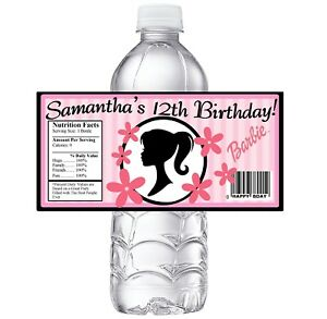 20 CLASSIC BARBIE PERSONALIZED BIRTHDAY PARTY FAVORS WATER BOTTLE LABELS