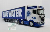 "Herpa 310659 Scania CS 20 HD 6×2 Lkw Sattelzug Auflieger "" Blue Water "" DK"