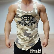 Men Tank Top T-Shirt Muscle Camo Camouflage Tee Bodybuilding Sport Fitness Gym