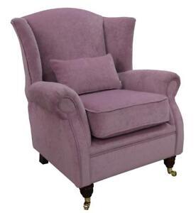 Ashley Wing Chair Fireside High Back Armchair Pimlico Lilac Fabric