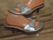 Etienne Aigner Women's 10 Silver Metallic Leather OT Slide Sandals Kitten Heel