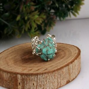 Natural Raw Turquoise Statement Ring 925 Sterling Silver Unisex Mandala Ring