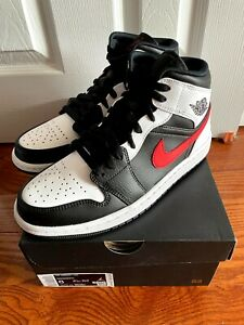 Nike Air Jordan 1 Mid Chile Red Size 8 554724-075 NEW Shadow Black White