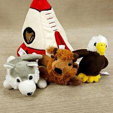 "Unipak 7"" Plush Stuffed Teepee Hut Tent w/ 3 Mini Animals Buffalo Eagle Wolf"