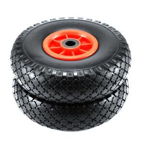 2 Stück Sackkarrenrad PU 3.00-4 Reifen Ø 260 mm Vollgummi Sackkarre Nadellager