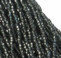 Silver Lined Black Diamond Czech 11/0 Glass Seed Beads 1-6 String Hank Preciosa