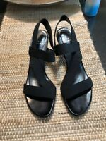 Gorgeous Stuart Weitzman Odeon Black Patent Nylon Stretch Strappy Sandals 9.5N