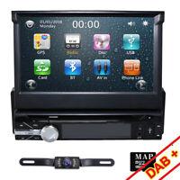 "7"" Car GPS Stereo Single 1 Din MP3 CD DVD Player Bluetooth Radio USB Free Camera"