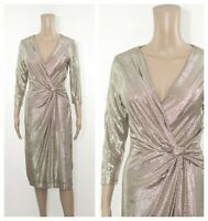 ex Debut Gold Faux Wrap Knot Occasion Party Cocktail Midi Dress