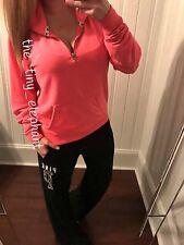 Victoria Secret Pink Leopard Cheetah Half Zip Pullover Boyfriend Sweatpants Set
