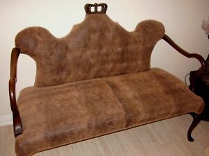 3 Pieces Carved Wood Suite Sofa Loveseat Armchair Snake Leather + Coffee Table