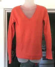 Halogen Cashmere 100% cashmere V Neck Sweater Orange Size M SOFT