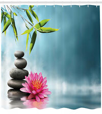Spa Theme Picture Lily Lotus Flower and Rocks Yoga Themed Shower Curtain Set