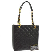 CHANEL Petit Shopping Tote Quilted Chain Shoulder Bag Black Caviar M13996g