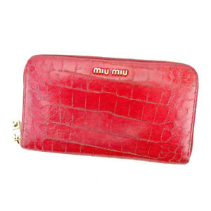 miumiu Wallet Purse Long Wallet Red Gold Woman Authentic Used T5509