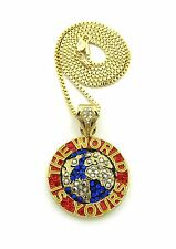 """Iced out Hip Hop Micro Pave The World is Yours Pendant w/ 24"""" Box Chain Necklace"""