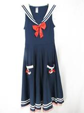 Dreamgirl Sailor Costume Dress Large Navy Blue White & Red W Bows Flare Nautical