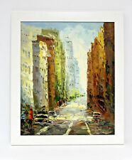 New York City Street Scene 20 x 24 Art Oil Painting on Canvas w/White Wood Frame