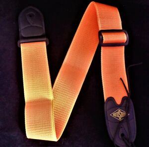 RotoSound Guitar Strap with Leather Ends for Electric/Guitar/Bass (ORANGE).