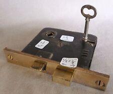 """Antique Mortise Door Bolt Lock w/key Cast Brass Face 5 1/4"""" #A red brass"""