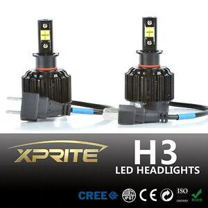 Xprite 80W CREE H3 LED Headlight Bulbs Conversion Kit 7200LM 6000K Clear