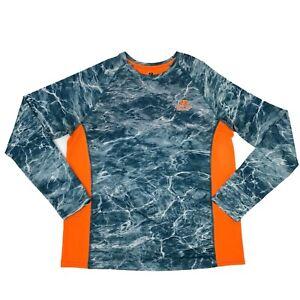 Mossy Oak Fishing Shirt Men's Size L Water Surface Print Long Sleeve Neon Orange