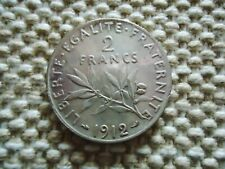 FRANCE 1912 2 FRANCS SILVER COIN. THIRD REPUBLIC 10g., 27mm.