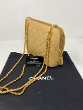 COA CHANEL VTG Matrasse Leather Double Gold Chain Shoulder Bag Beige Quilting