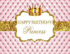 7x5ft Girls Princess Birthday Gold Crown Pink Photo Background Vinyl Backdrop LB