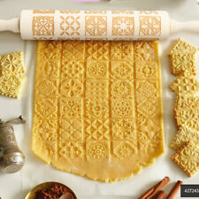 More details for wood embossing rolling pin fondant dough pattern engraved roller