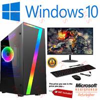 Fast Gaming PC Computer Bundle Monitor i5 Quad Core 16GB 1TB Win 10 2GB GT710