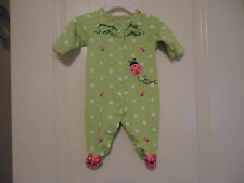 Just One You Girls 3 M Cotton Footed Sleeper Green White Polka Dot Pink Ladybugs
