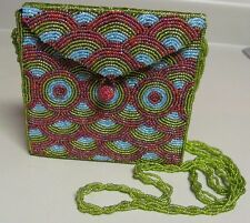 BEADED RED BLUE GREEN HANDBAG HANDMADE INDONESIA