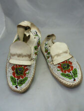 Native American Plains Indian Beaded White Leather Moccasins. Very Nice Design