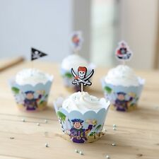 24 PCS PIRATE CUPCAKE TOPPERS & WRAPPERS / PARTY SUPPLIES/ BIRTHDAY KIDS
