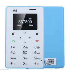 Blue Ultra Thin Mini Pocket Mobile Cell Phone Card AIEK M5 Alarm Clock 128M GSM