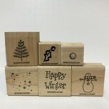 1997 Stampin Up 6 Rubber Stamps Happy Winter Snowman Pine Tree Holly Leaf Stars