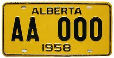 Alberta Canada 1958 SAMPLE License Plate, AA 000