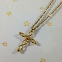 """18"""" Chain Necklace Cut Out CROSS Charm Pendant Gold Metal Lobster Claw Clasp NEW"""